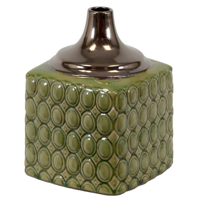 Urban Trend Collection Small Green/ Gold Ceramic Vase