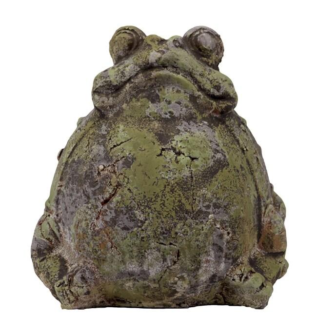 Urban Trend Moss Finish Sitting Frog Stoneware Sculpture