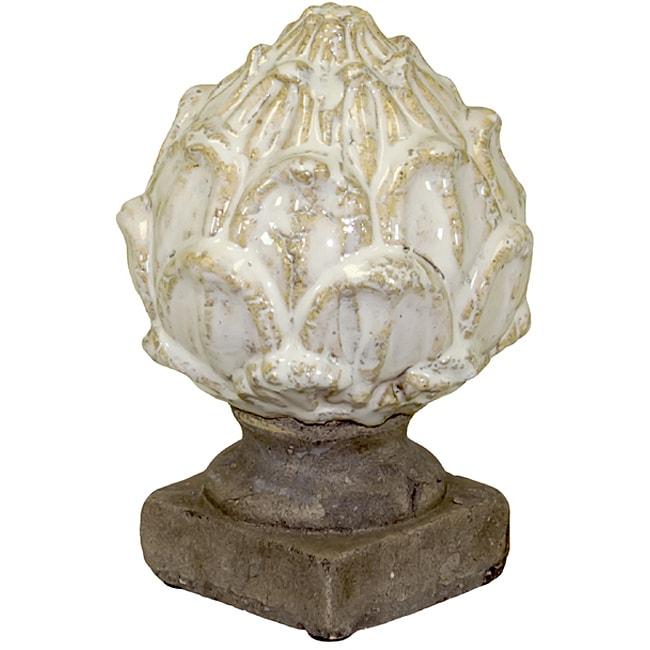 Urban Trend White Small Artichoke Ceramic Accent Piece