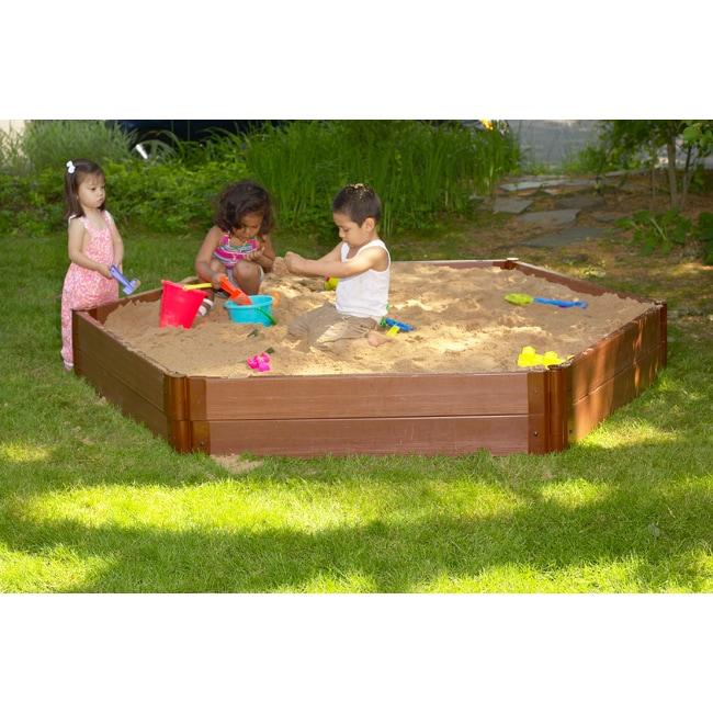 Frame It All Recycled Plastic Wood-grain Weatherproof Hexagon Sandbox