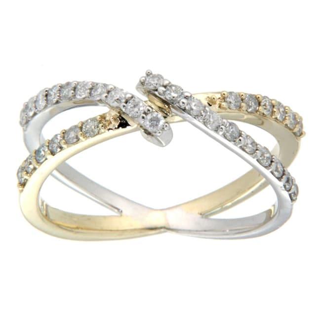 D'sire 10k Gold 4/9ct TDW Diamond Two-tone Ring (H-I, I2-I3)