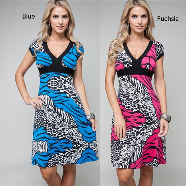 Stanzino Women's Short Sleeve Zebra Print Dress