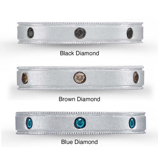 Sterling Silver 1/8ct TDW Black, Brown or Blue Diamond Stackable Ring