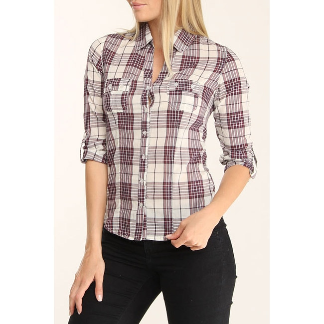 4Now Fashions Women's Purple Plaid Button-up Boyfriend Shirt