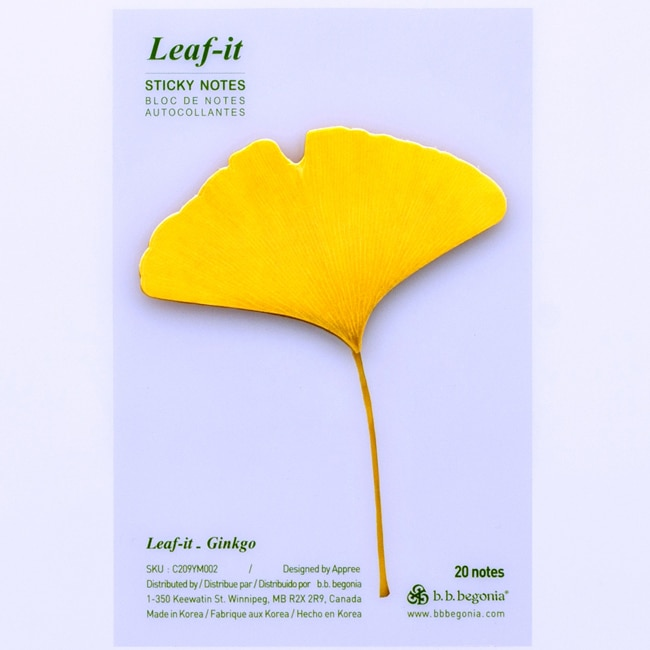 Leaf-it Gingko Yellow Medium Sticky Notes (Pack of 20)
