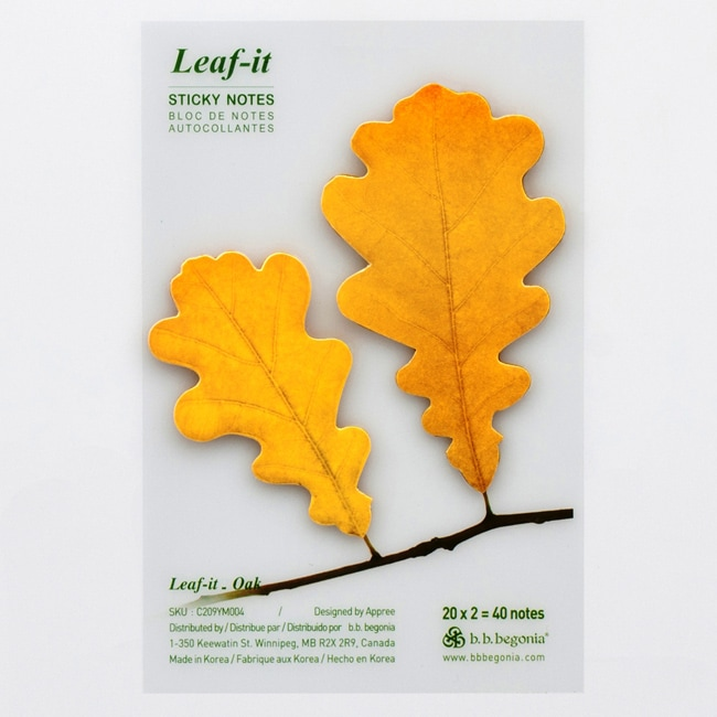 Leaf-it Oak Yellow Medium Sticky Notes (Pack of 20)