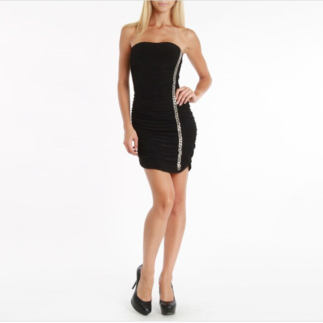 247 Frenzy Black Strapless Dress with Silvertone Chain Detail