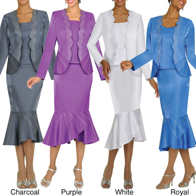 Divine Apparel Missy 3-piece Scallop Hem Rhinestone Skirt Suit