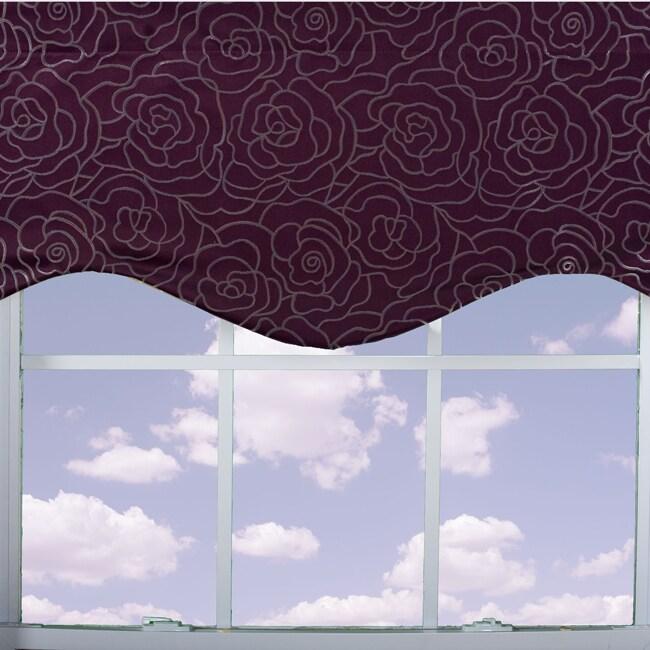 Purple Floral Lined Valance