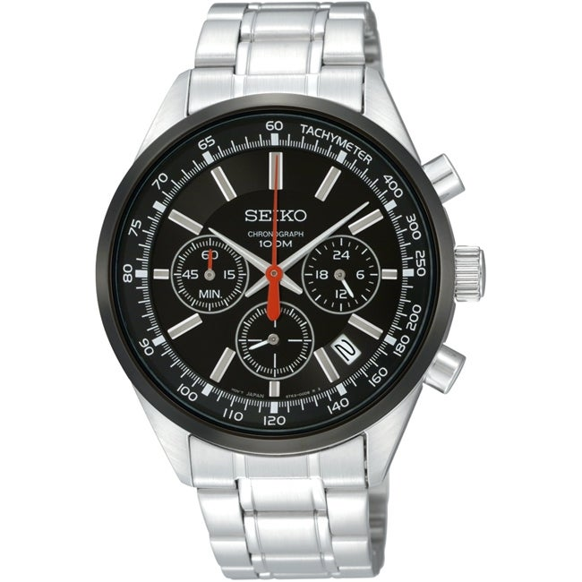 Seiko Men's Stainless Steel Black Chronograph Watch