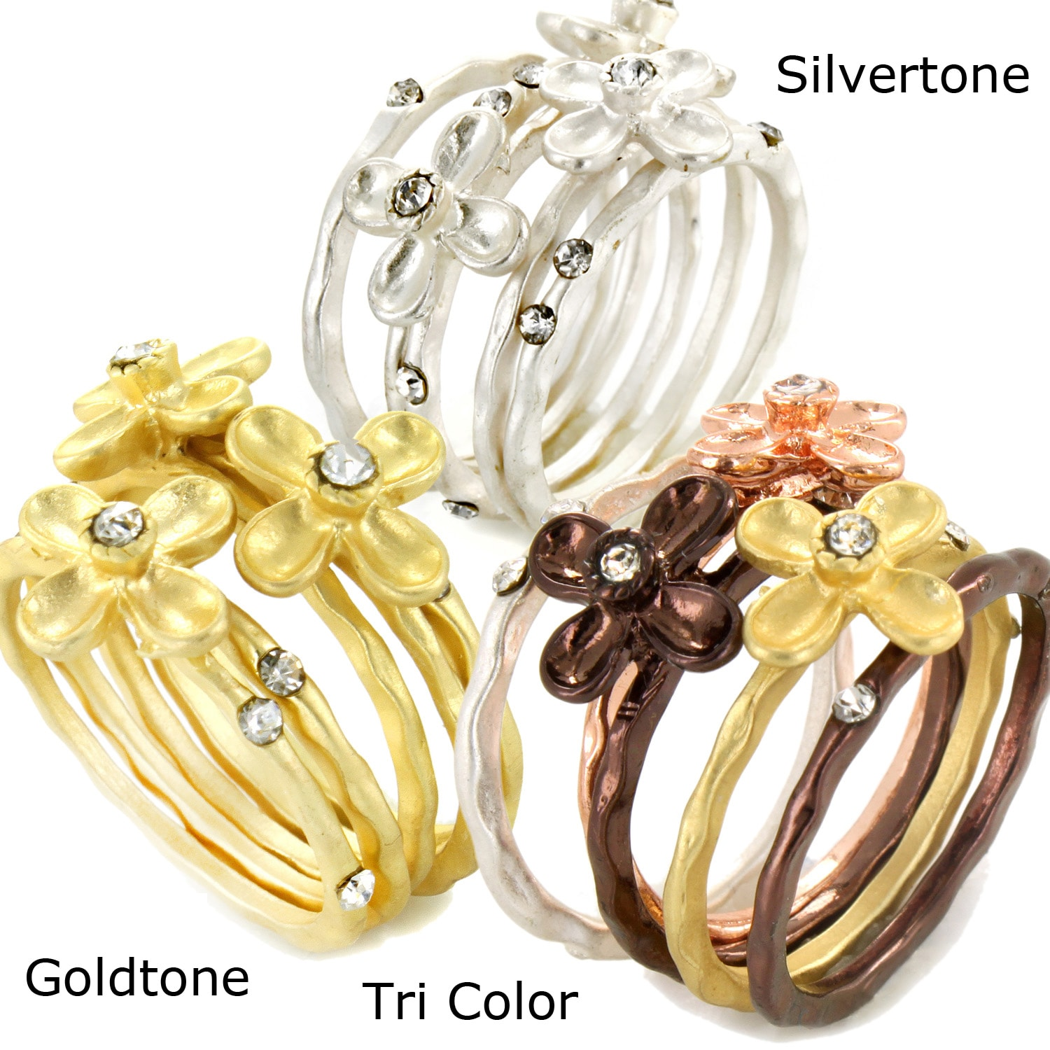 West Coast Jewelry Metal Stackable Crystal Brushed Metal Flower Four-piece Ring Set