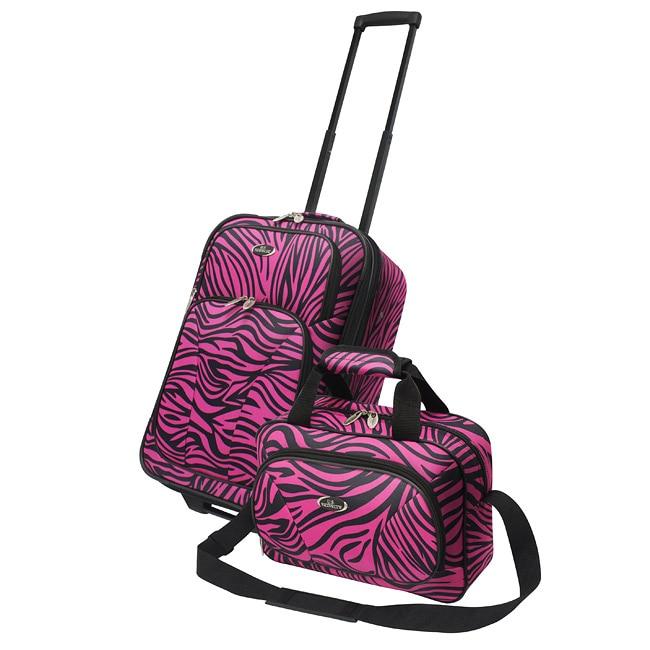 Traveler US7402Z 2 piece Exotic Zebra Print Carry on Luggage Set