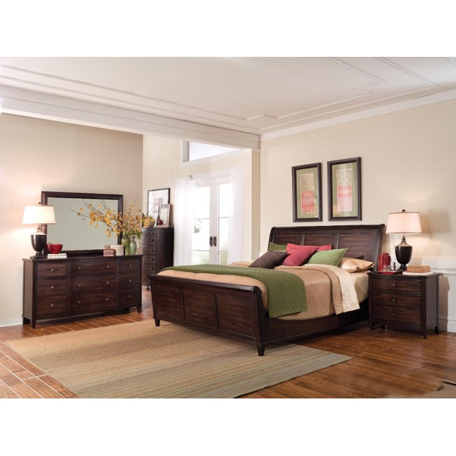 Intrigue Wood Sleigh Queen 4-Piece Bedroom Set