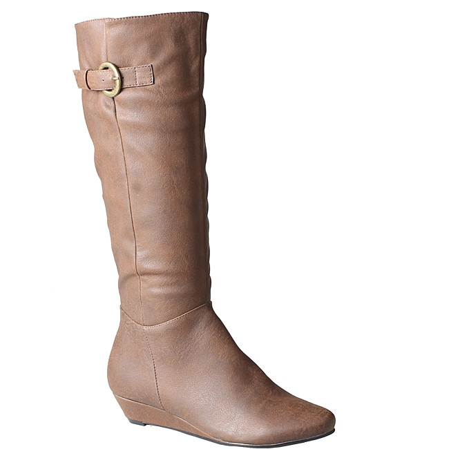 Refresh by Beston Women's 'Godiva' Brown Wedged Boots