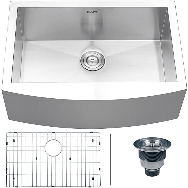 7 Inch Apron Front Sink : ... Steel Single Bowl Curved Front Undermount Farmhouse Apron Kitchen Sink