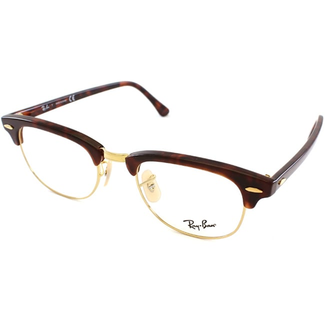 Ray-Ban Unisex RX 5154 Tortoise/ Gold Clubmaster Optical Eyeglasses Frames