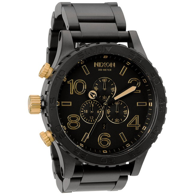Nixon Men's 51-30 Chrono Matte Black and Gold Watch