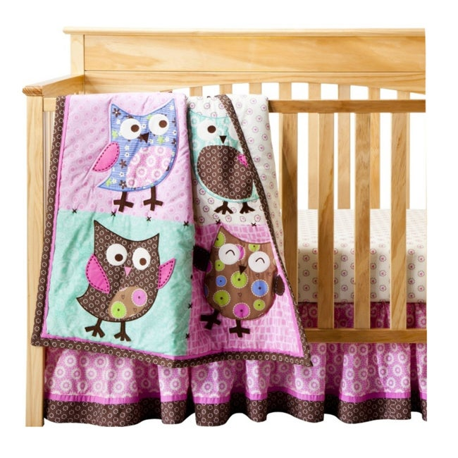 BananaFish Calico Owls 3-piece Crib Bedding Set