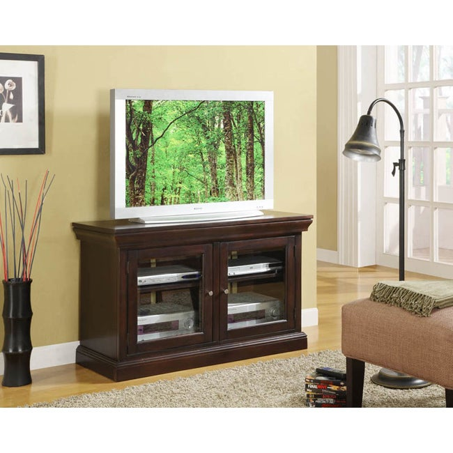 K&B Dark Cherry Finish Wood TV Stand