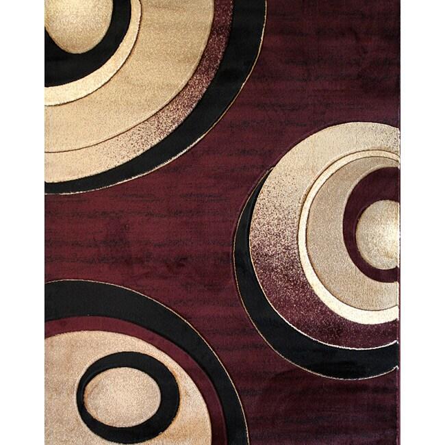 Circles Burgundy Modern Area Rug (5'3 x 7'1)