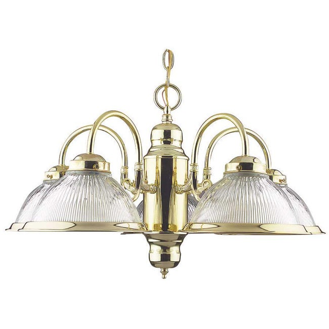 Polished Brass Five Light Chandelier