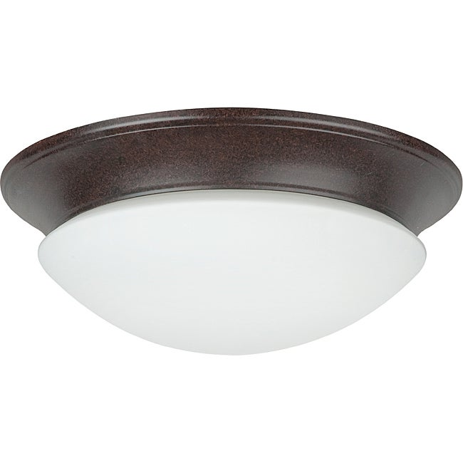 Two light Rubbed Bronze Twist On Opal Flush Mount