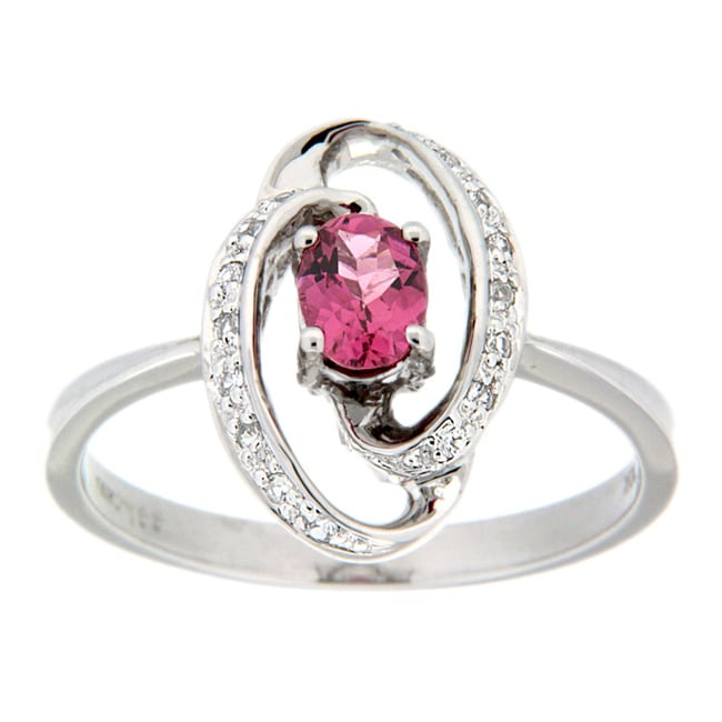 D'sire 10k White Gold Pink Tourmaline and White Sapphires Ring