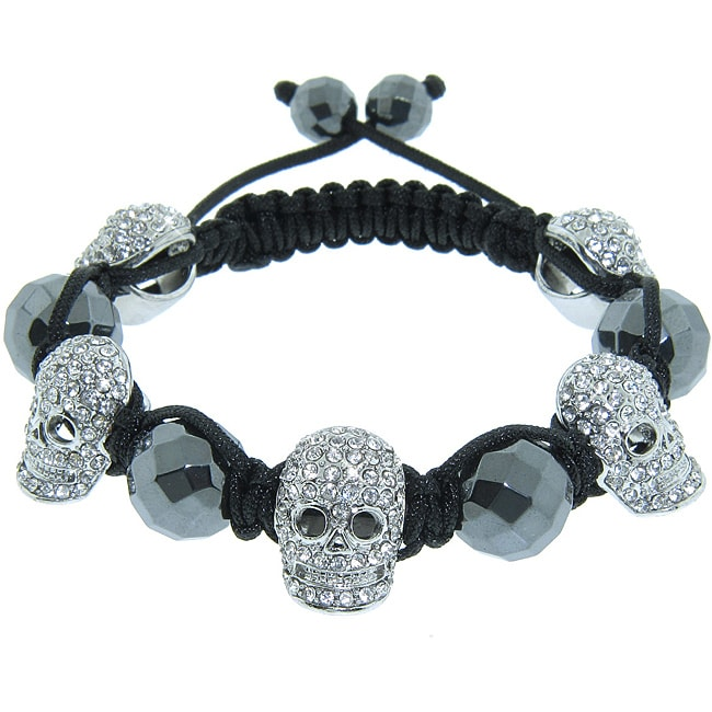 Eternally Haute Hematite Gemstone and Crystal Skull Macrame Bracelet