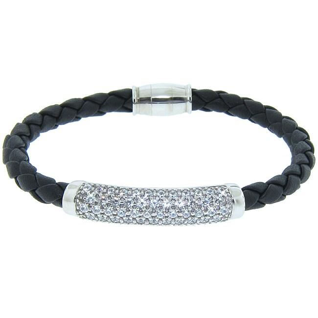 Eternally Haute Italian Sterling Silver Pave Braided Leather Magnet Bracelet