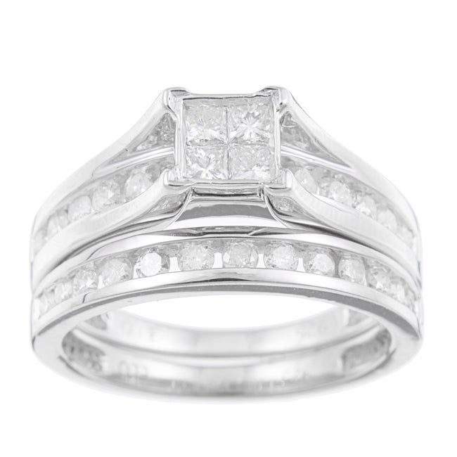 Sterling Silver 1ct TDW Diamond Bridal Ring Set (K-L I1-I2)
