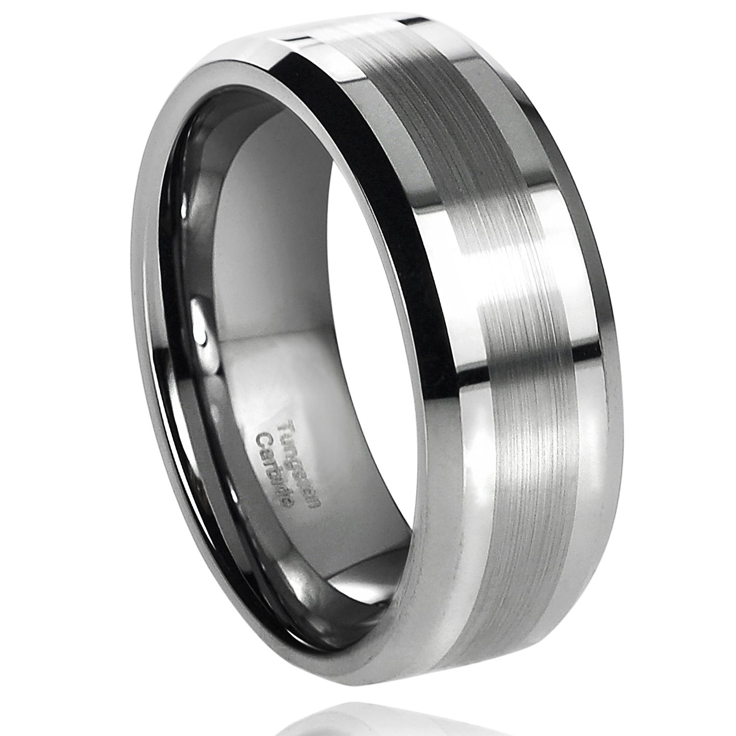 Eziba Collection Daxx Men's Tungsten Carbide Brushed Center Band (8 mm) at Sears.com