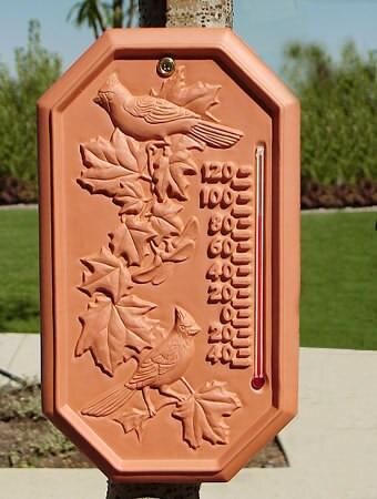 Hummingbird Terra Cotta Outdoor Thermometer 015183