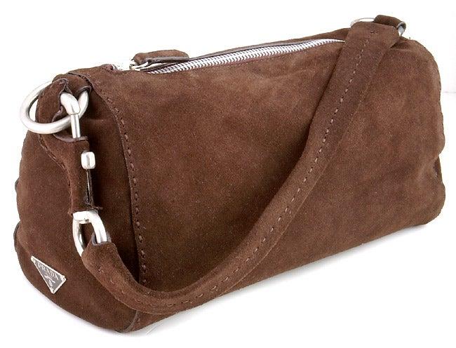 Prada Brown Suede Handbag - 404279 - Overstock.com Shopping - Big ...