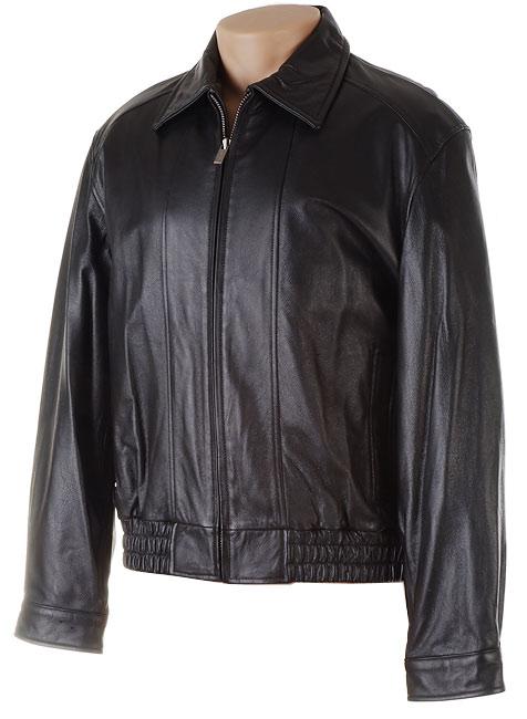 London Fog Men S Black Leather Bomber Jacket 412220