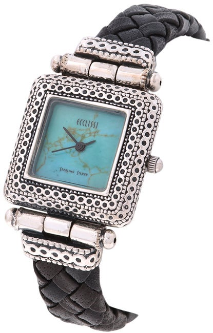 Ecclissi Women's Sterling Silver Turquoise Dial Watch