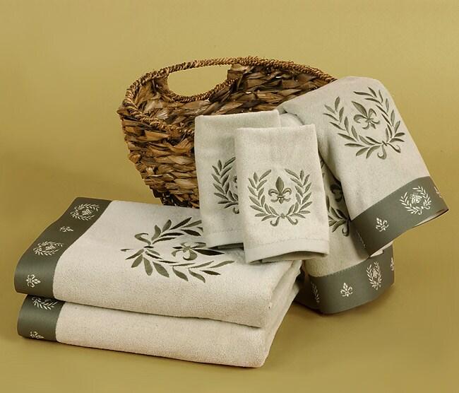 Waverly fleur de lis fennel towels set of 6 overstock shopping top rated bath towels - Fleur de lis bath towels ...