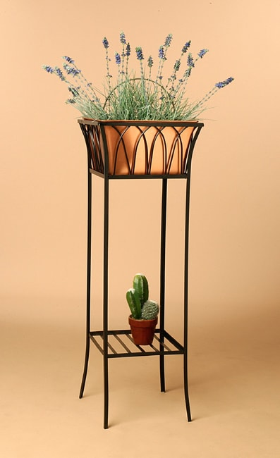 tall black copper wrought iron planter overstock shopping great deals on planters. Black Bedroom Furniture Sets. Home Design Ideas