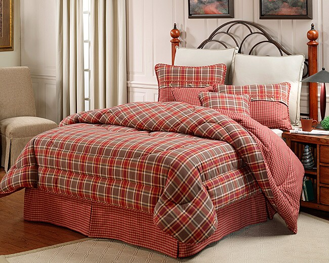 Mulberry Red Green Plaid King Size Comforter Set 425257
