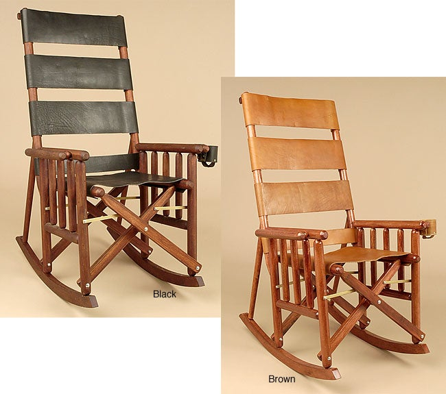Handcrafted Leather/Wood Rocking Chair (Costa Rica) - 427907 ...