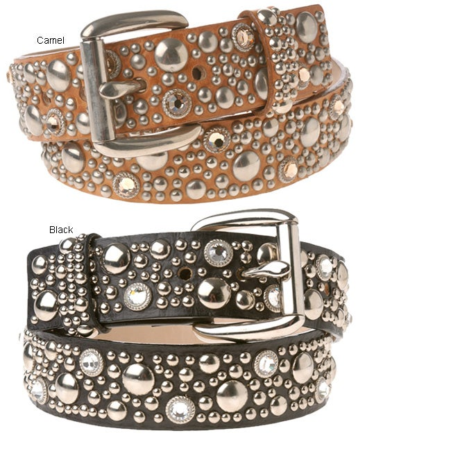 Streets Ahead Leather Belt with Silver Studs and Swarovski Crystals