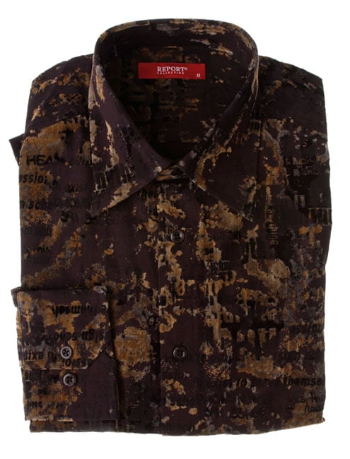 Report Collection Men's Crushed Velvet Long Sleeve Button Shirt