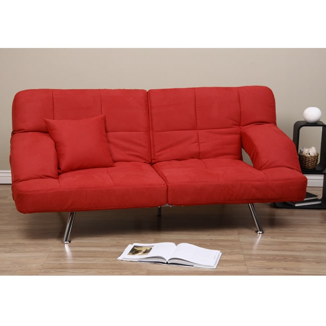 Red microsuede sofa bed 80001418 overstockcom for Sectional sofa bed overstock