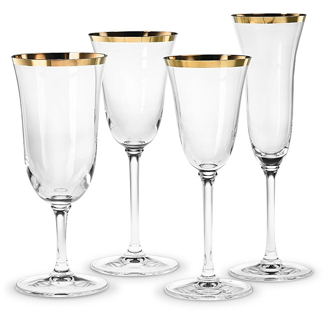 Vera wang gold rimmed classic footed wine glasses set of 4 80001621 shopping - Lenox gold rimmed wine glasses ...