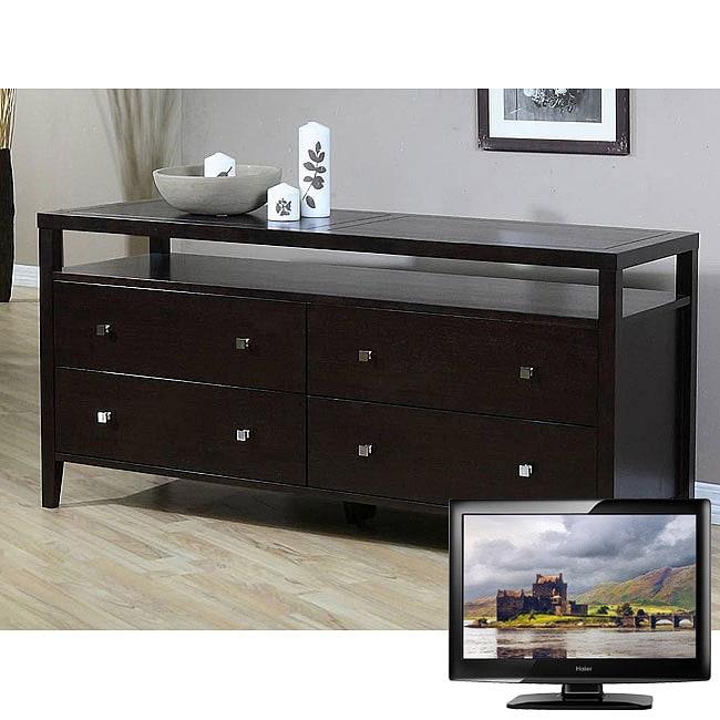 Aristo 4-drawer Dresser and 42-inch LCD Haier TV Bundle