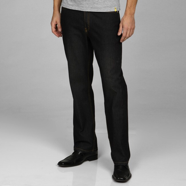 Jack of Spades Men's Black Straight Fit Jeans