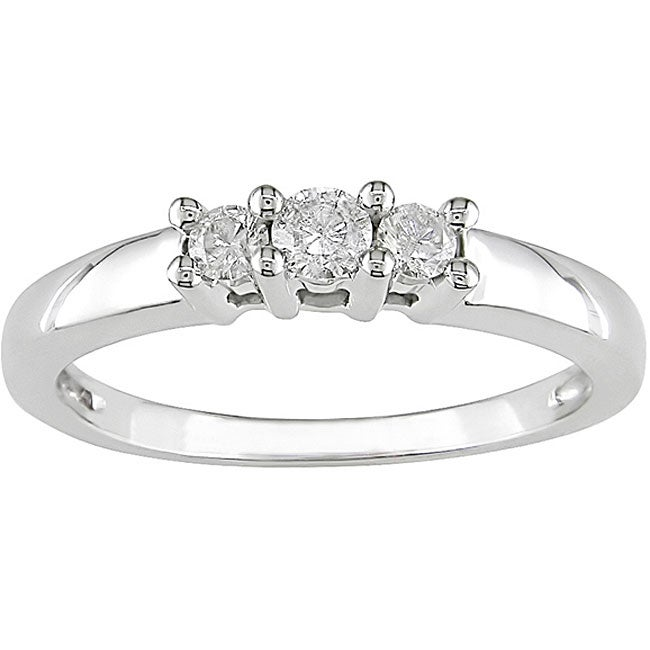 Eziba Collection Miadora 14kt White Gold 1/4ct TDW Round Diamond Three-Stone Ring at Sears.com