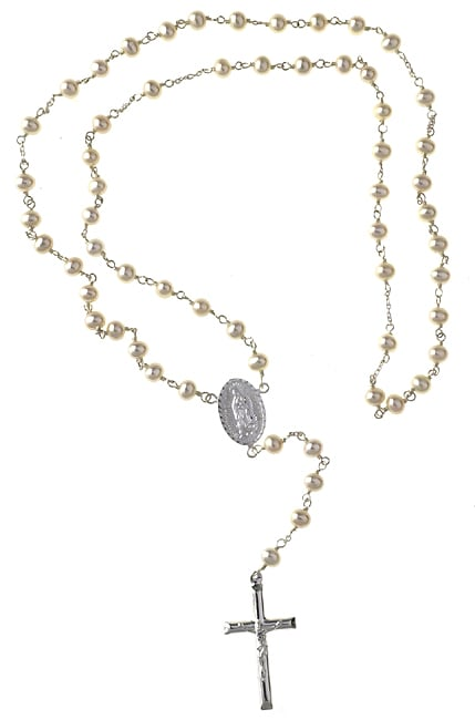 Sterling Essentials Sterling Silver Pearl Rosary (4 mm)