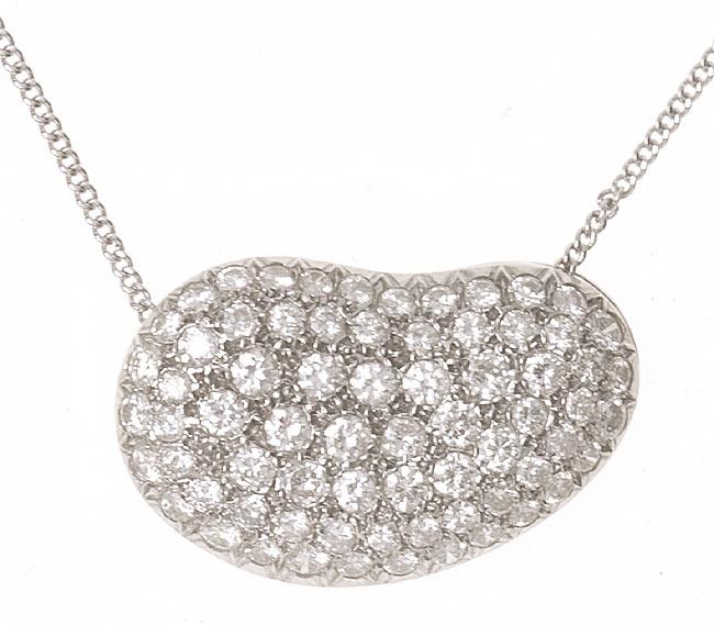 18 kt. White Gold Diamond Bean Pendant (5.0 TW)