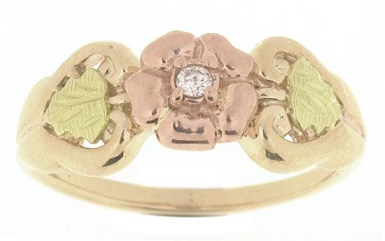 Black Hills Gold Flower and Diamond Ring
