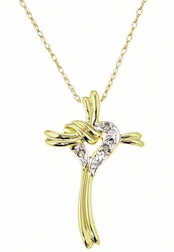 Marquee Jewels 10k Heart and Cross Diamond Pendant